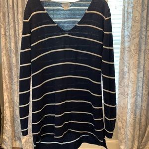 Extra long striped top